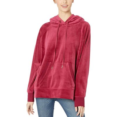 Juicy Couture - Juicy Couture Pomegranate Luxe Velour Hooded Pullover