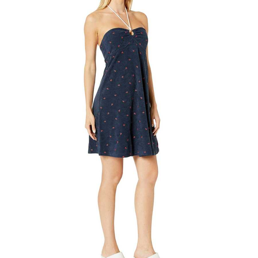 Juicy Couture Regal Anchor Anchor Embroidery Microterry Halter Dress