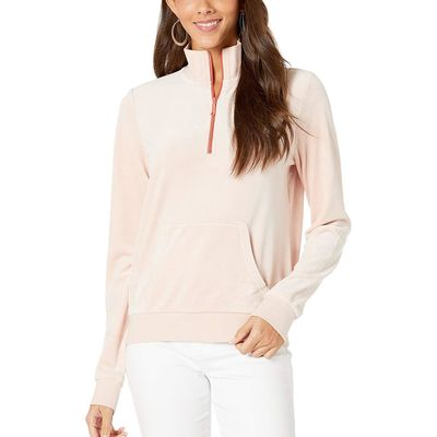 Juicy Couture - Juicy Couture Rose Water Luxe Velour 1/2 Zip Track Pullover