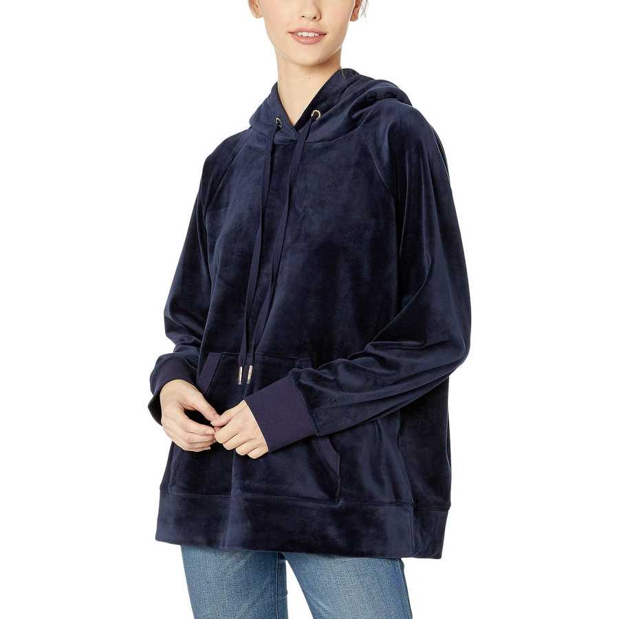 Juicy Couture Royal Navy Luxe Velour Hooded Pullover