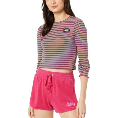 Juicy Couture - Juicy Couture Skinny Thermal Stripe Striped Rib Knit Top