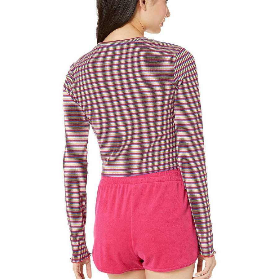 Juicy Couture Skinny Thermal Stripe Striped Rib Knit Top