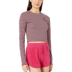 Juicy Couture Skinny Thermal Stripe Striped Rib Knit Top - Thumbnail