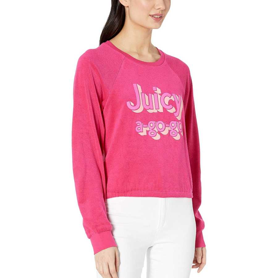Juicy Couture Sweet Raspberry Juicy A Gogo Microterry Logo Pullover