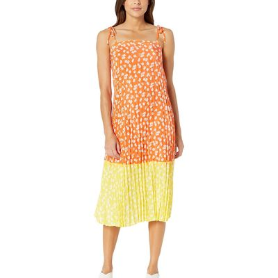 Juicy Couture - Juicy Couture Tigerlily Ditsy/Morning Sunshine Ditsy Daisy Print Blocked Pleated Dress