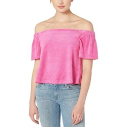 Juicy Couture Tourist Pink Track Microterry Off The Shoulder Top - Thumbnail