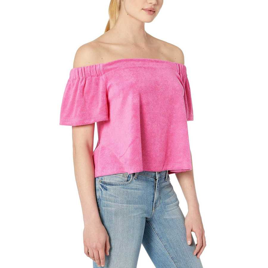 Juicy Couture Tourist Pink Track Microterry Off The Shoulder Top