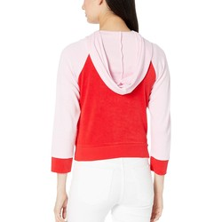 Juicy Couture True Red Juicy Color Block Microterry Logo Hood Jacket - Thumbnail