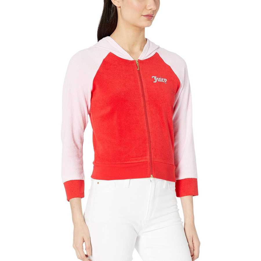 Juicy Couture True Red Juicy Color Block Microterry Logo Hood Jacket