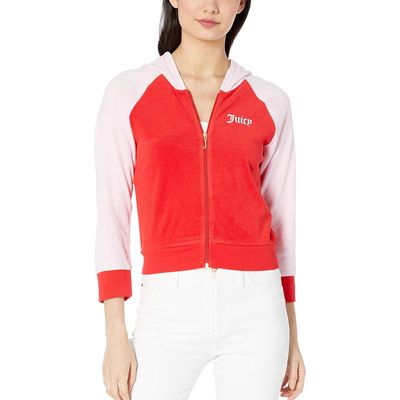 Juicy Couture - Juicy Couture True Red Juicy Color Block Microterry Logo Hood Jacket