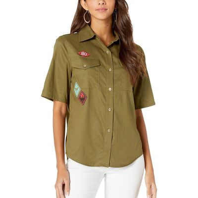 Juicy Couture Washed Army Green Juicy Patches Tencel Twill Shirt