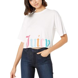 Juicy Couture White Gothic Juicy Track Logo Boxy Tee - Thumbnail