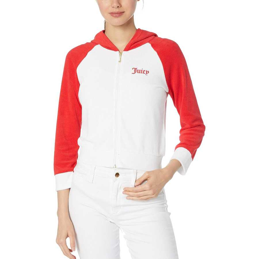 Juicy Couture White Juicy Color Block Microterry Logo Hood Jacket