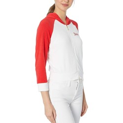 Juicy Couture White Juicy Color Block Microterry Logo Hood Jacket - Thumbnail