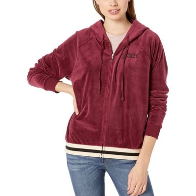 Juicy Couture - Juicy Couture Wine Luxe Velour Relaxed Hooded Jacket
