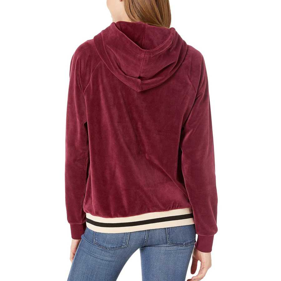 Juicy Couture Wine Luxe Velour Relaxed Hooded Jacket