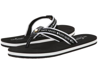 Kate Spade New York - Kate Spade New York Women Black Nappa/Black/White Grosgrain Fable Flip Flops
