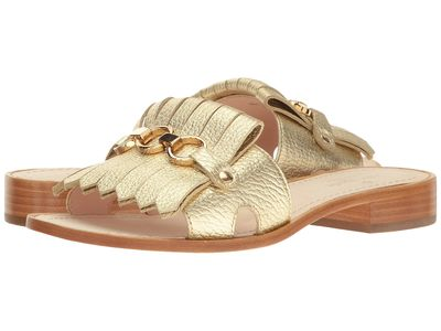 Kate Spade New York - Kate Spade New York Women Gold Metallic Tumbled Leather 1 Brie Flat Sandals