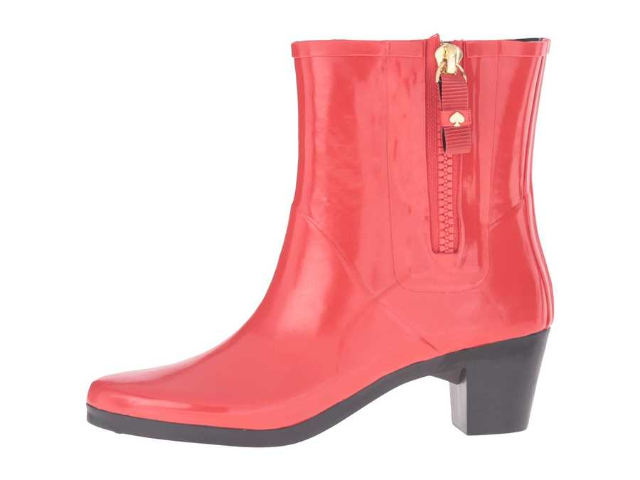 Kate Spade New York Women Red Shiny Rubber Penny Rain Boots