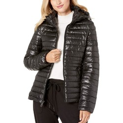 Kenneth Cole New York Black Hooded Zip Front Channel Quilted Packable - Thumbnail