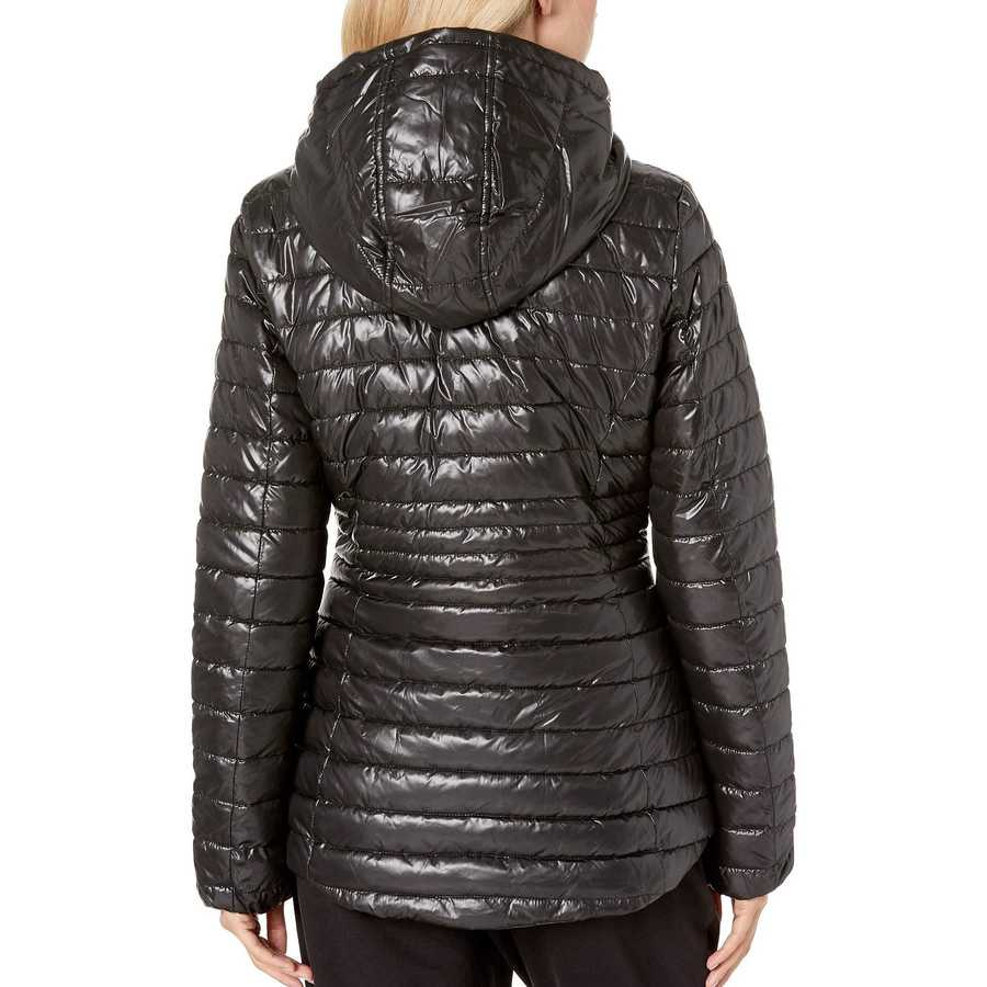Kenneth Cole New York Black Hooded Zip Front Channel Quilted Packable