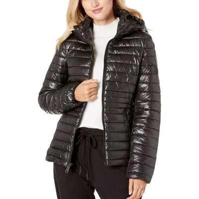 Kenneth Cole New York - Kenneth Cole New York Black Hooded Zip Front Channel Quilted Packable