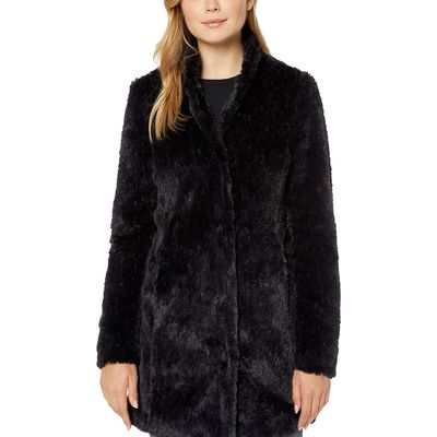 Kenneth Cole New York - Kenneth Cole New York Black Stand Collar W/ Faux Fur