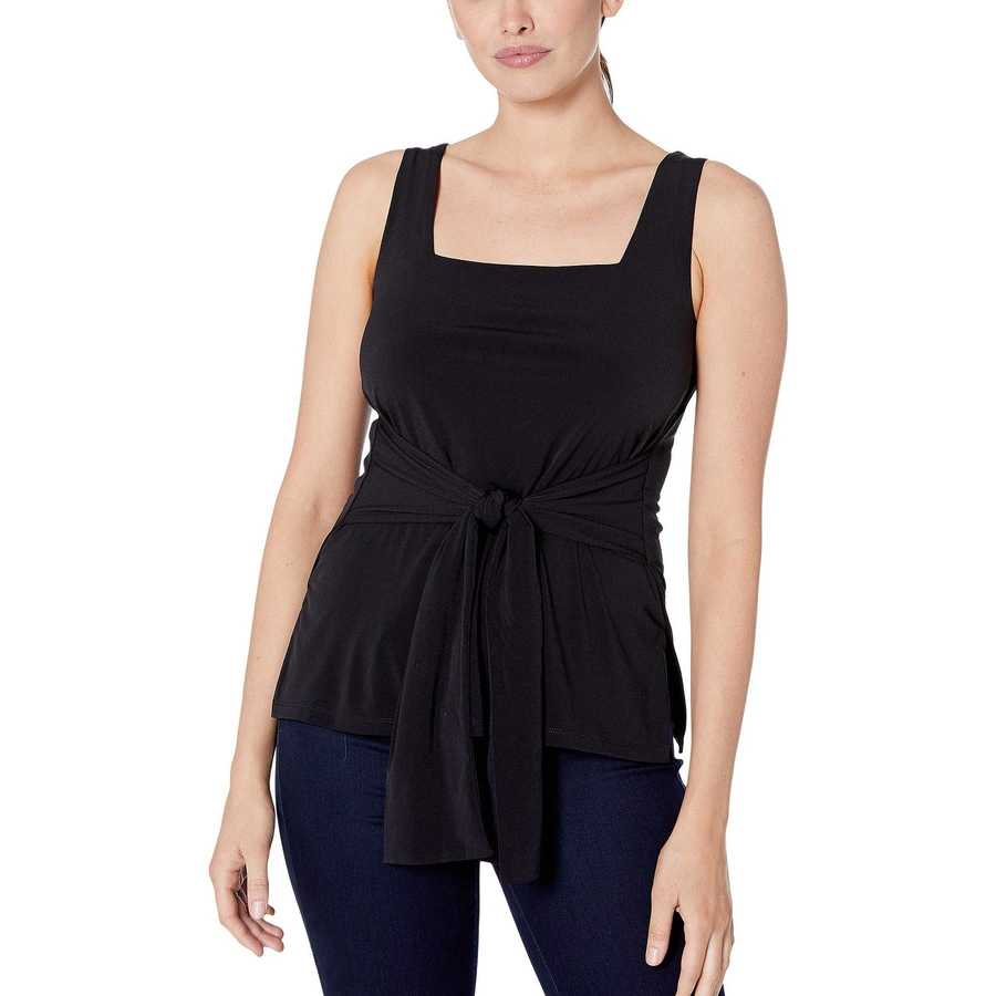 Kenneth Cole New York Black Tie Front Tank