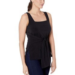 Kenneth Cole New York Black Tie Front Tank - Thumbnail