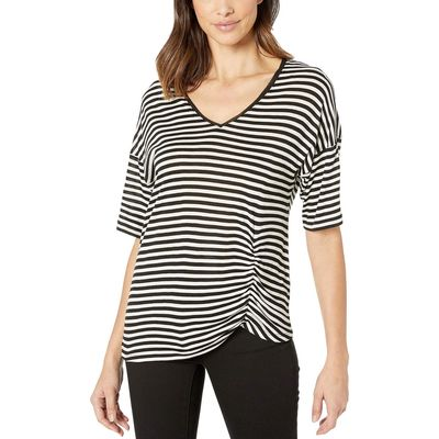 Kenneth Cole New York - Kenneth Cole New York Crosstown Heather Stripe Black Side Ruched Tee