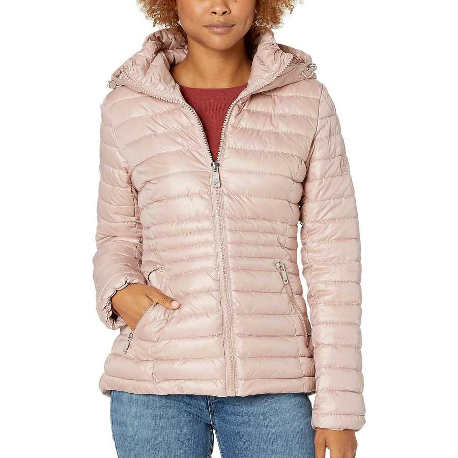 Kenneth Cole New York Dusty Blush Hooded Zip Front Channel Quilted Packable