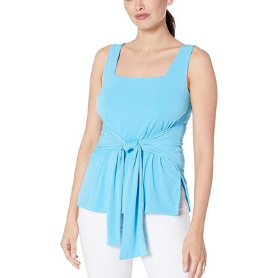 Kenneth Cole New York - Kenneth Cole New York Fluorescent Turquoise Tie Front Tank