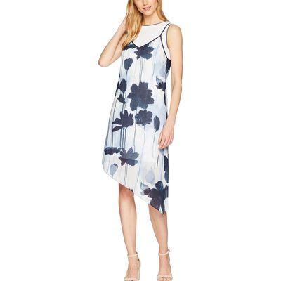 Kenneth Cole New York - Kenneth Cole New York Linear Floral/Indigo 2 Layer Dress