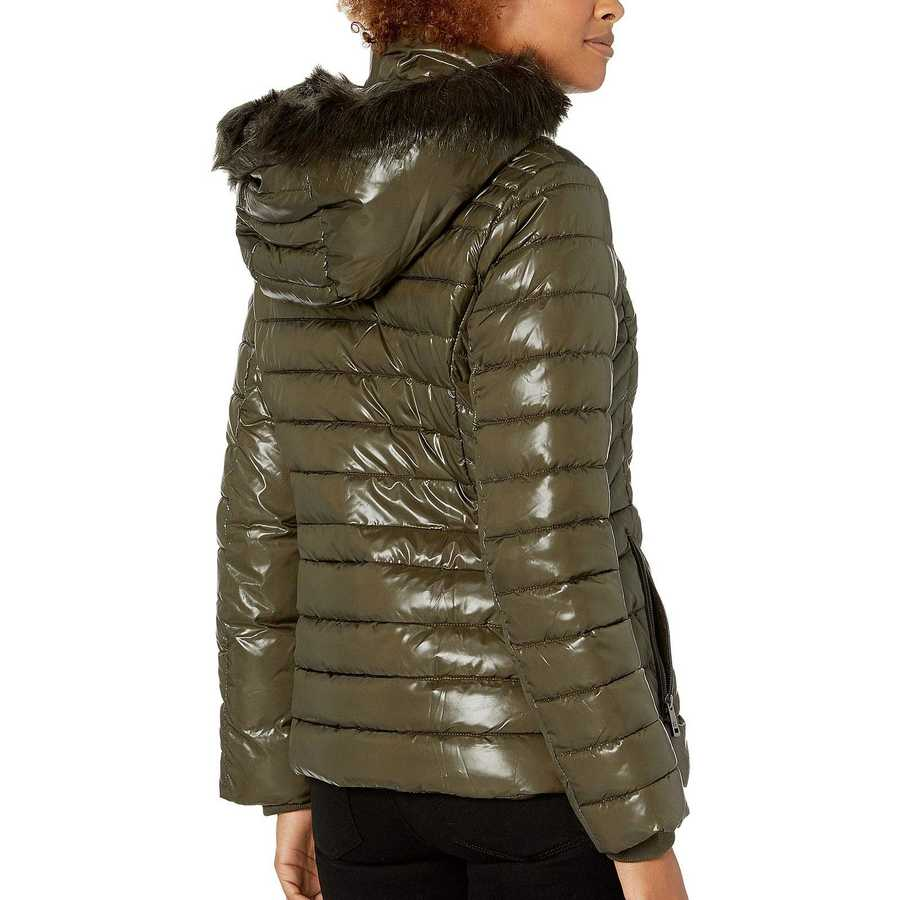 Kenneth Cole New York Olive Faux Fur Trimmed Short Puffer