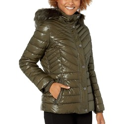 Kenneth Cole New York Olive Faux Fur Trimmed Short Puffer - Thumbnail