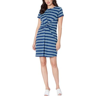 Kenneth Cole New York - Kenneth Cole New York Rep Horizontal Stripe Ink Knotted Front Dress