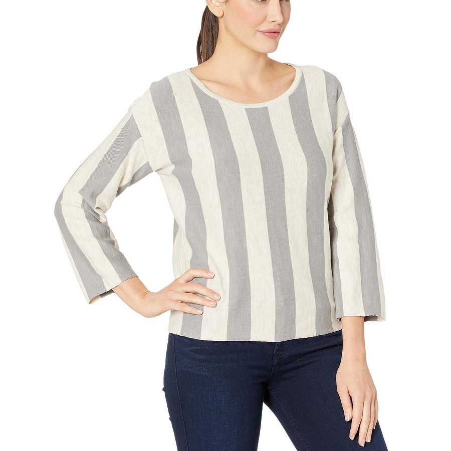 Kenneth Cole New York Seagull Oatmeal Stripe Trapeze Pullover