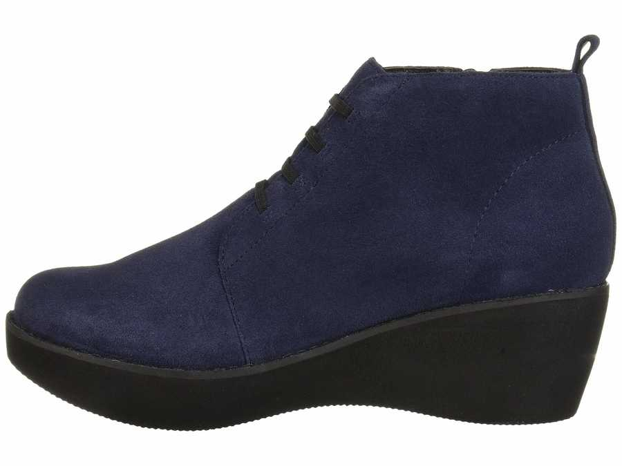 Kenneth Cole Reaction Women Navy Prime Lace-Up Bootie Lace Up Boots