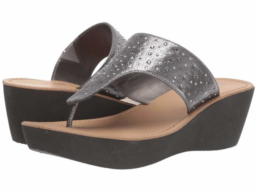 Kenneth Cole Reaction Women Pewter Fine Glitz Thong Flat Sandals
