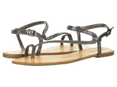 Kenneth Cole Reaction - Kenneth Cole Reaction Women Pewter Metallic Just Braid Flat Sandals