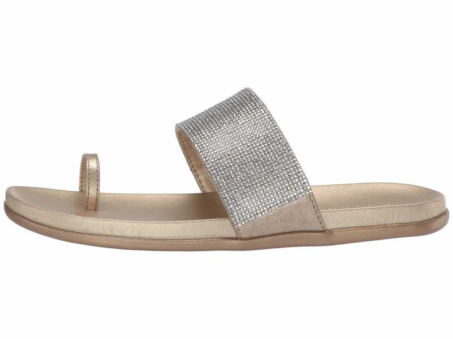 Kenneth Cole Reaction Women Soft Gold Synthetic Slim Tracks 2 Flat Sandals