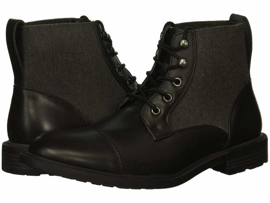 Kenneth Cole Unlisted Men Black Roll Boot B Lace Up Boots