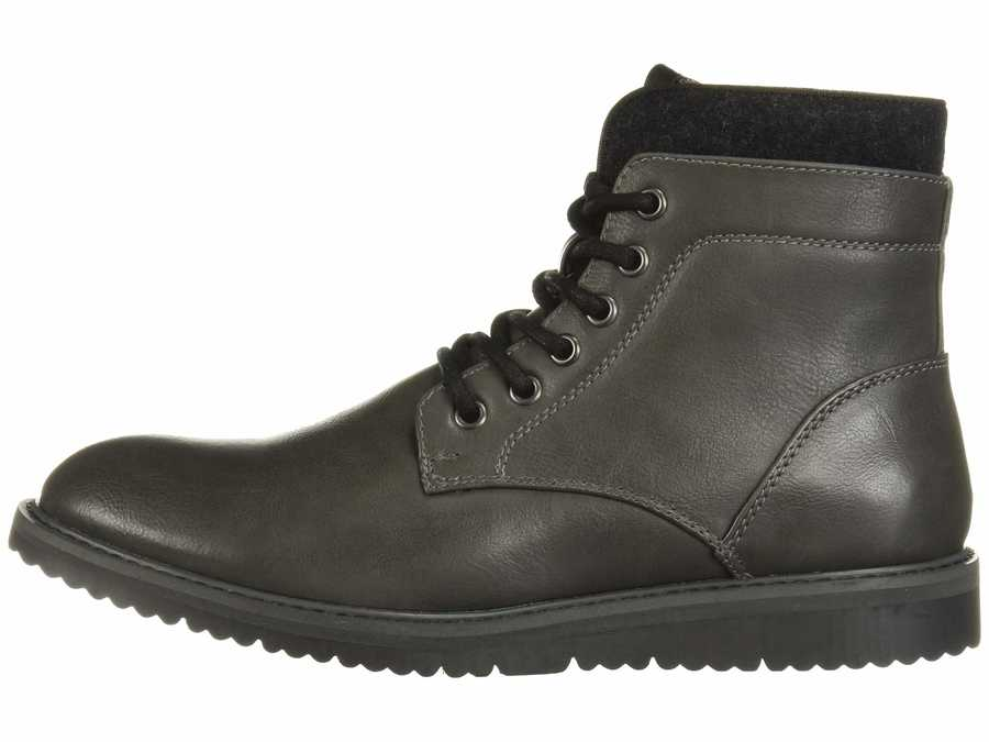 Kenneth Cole Unlisted Men Dark Grey Russel 2.0 Lace Up Boots