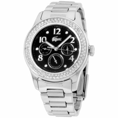 Lacoste - Lacoste Advantage 20 mm Stainless Steel Black Dial Crystal Ladies Watch 2000691