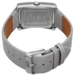 Ladies Swiss Quartz Crystal Accented Leather SttrapWatch BUR088GY - Thumbnail