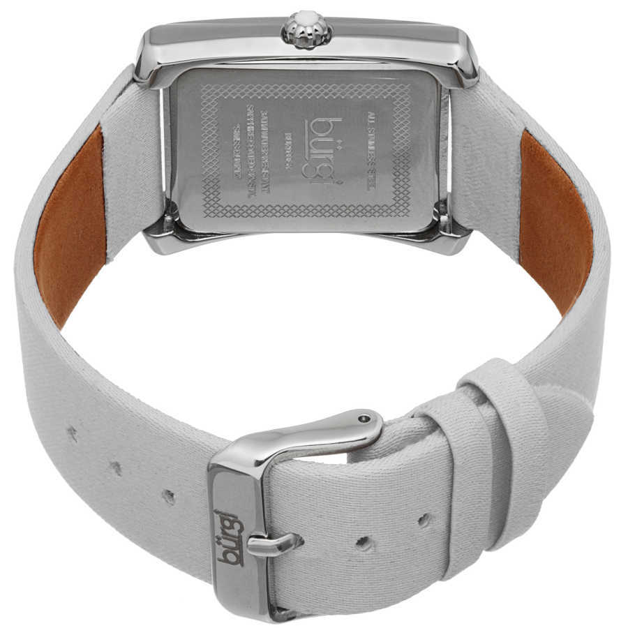Ladies Swiss Quartz Crystal Accented Leather SttrapWatch BUR088WT