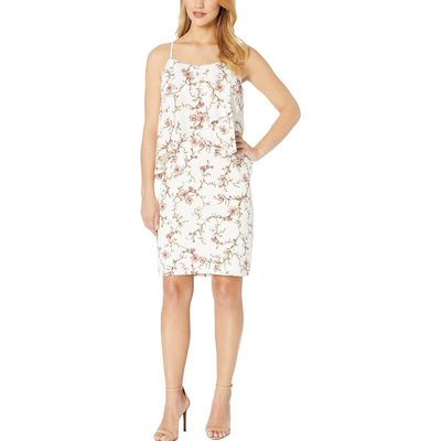 Lauren Ralph Lauren - Lauren Ralph Lauren Cashew/Peach/Multi B837 Cam Anella Pebble Crepe Sleeveless Day Dress