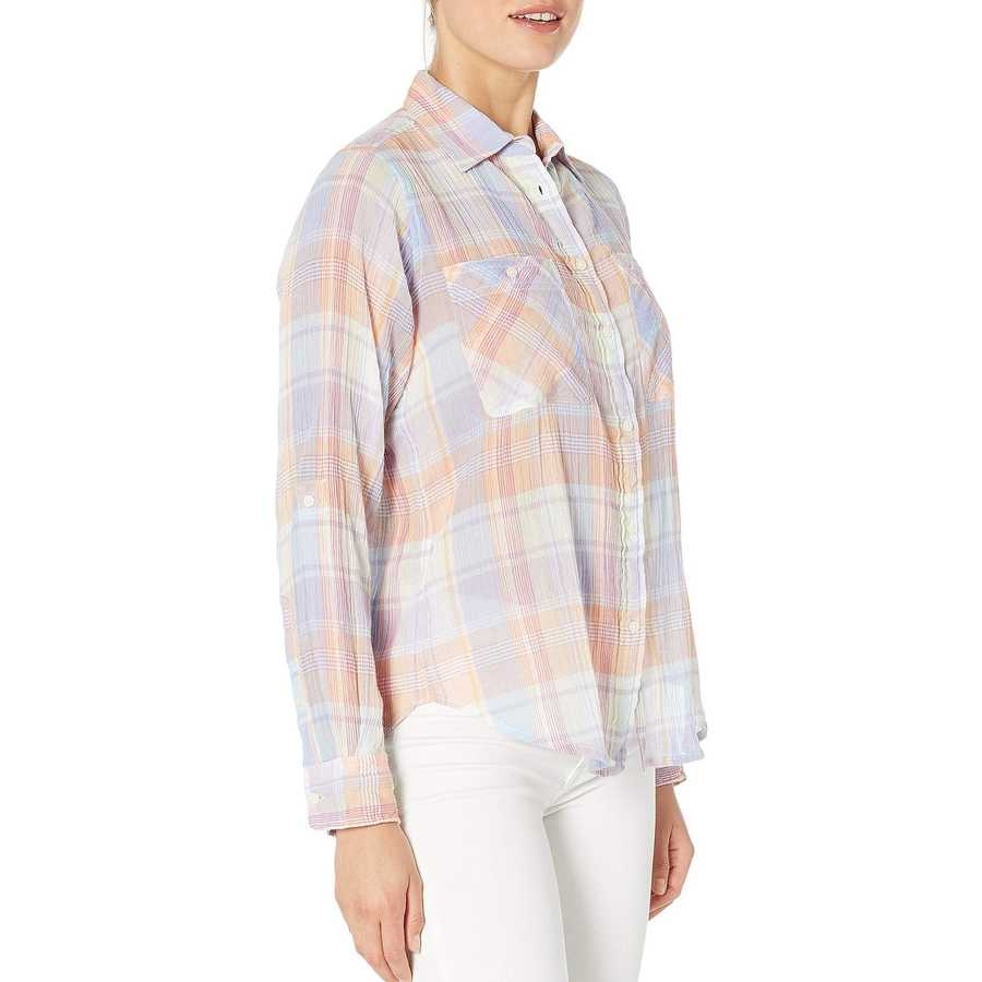 Lauren Ralph Lauren Lavendar Multi Plaid Crinkled Cotton Shirt