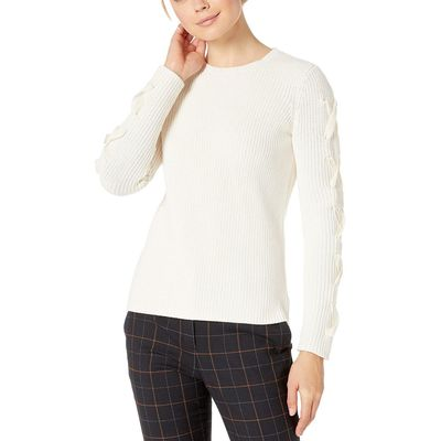 Lauren Ralph Lauren - Lauren Ralph Lauren Mascarpone Cream Lace-Up Cotton Sweater
