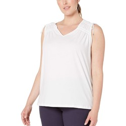 Lauren Ralph Lauren White Plus Size Tassel-Trim Cinched Top - Thumbnail